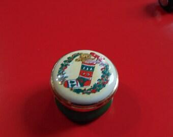 TKS England  Enamel small Christmas Stocking trinket box