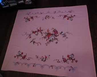 Vintage peach bed cover.  Lightweight cotton.  No stains or holes.  The flower and birds are beautiful..