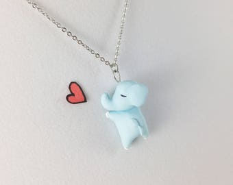 Cute Elephant Necklace // Polymer Clay Elephant Charm // Girlfriend Gift and Daughter Gift