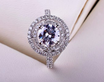 Double Halo 0.5 carat(5mm) Forever One Moissanite Engagement ring with natural diamonds, Bridal Ring,Diamond Alternative engagement ring