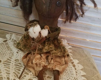 Primitive Grunged Doll Holding a Cotton Boll