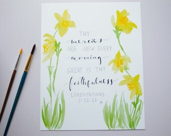 Daffodils, Scripture quote, 8x10, Watercolor Print, Wall Art, Lamentations