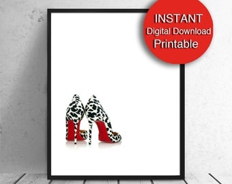Red Shoes PRINTABLE Fashion Wall Art, A4 Printable, Dalmatian Shoes, 8x10 Print, Teen Girls Bedroom Download
