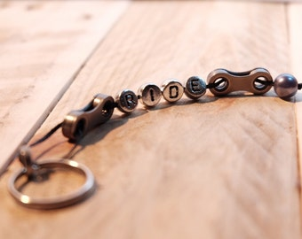 Upcycled 'Ride' Bicycle Chain Keyring