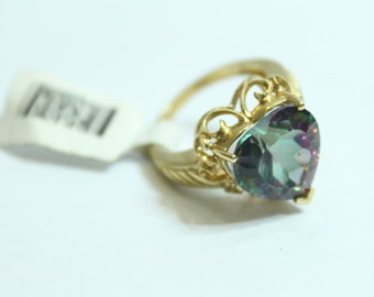 10k Yellow Gold 6.61ctw Heart Shaped Mystic Green Topaz Ring Size 6