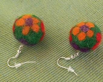 Earrings felted wool, handmade , modern earrings,  earrings jewelry, серьги валяные из шерсти