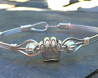 Dog Paw Silver Bracelet Mississippi State Bulldogs