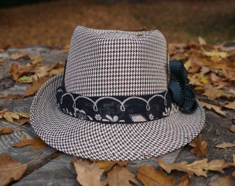 Customised  white and brown houndstooth trilby fedora hat size 58