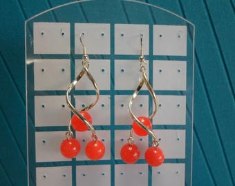 Red Agate Gemstone Earrings/ Silver (Original Rhodium) plated over brass