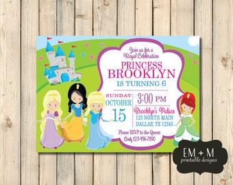 Princess Birthday Invitation, Royal Birthday Party, Girl Birthday Party, Princess Invitation, Cinderella Ariel Rapunzel Snow White