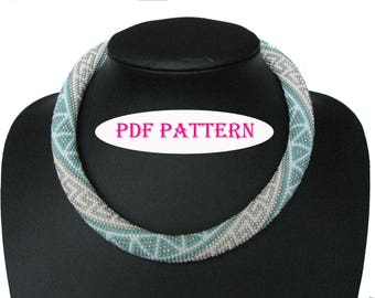 White Blue Silver Beaded Necklace PDF Tutorial Geometric Design Scheme Beaded Rope Necklace With Triangles Patchwork