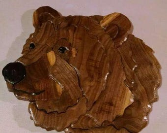 Grizzly intarsia wall hanging