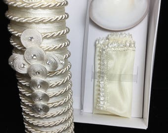 Christening equipment ready for your event, candle for baptism, ready to ship, white or ivory, kit for baptism