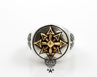 Symbol of Chaos ring,Chaos star ring,Sterling Silver Chaos Ring, Star brass,Ring Sterling Silver 925 Black oxidize.