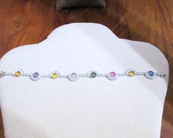 Bracelet with Multicolored SAPPHIRES Ct 2.53 ct diamonds 7.20 F/VS-50%
