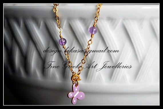 Enamel Butterfly Bracelet Sterling Silver Gold-plated Fine Jewellery Amethyst beads in chain Lakasa e-shop Best Ideas Gift for friendship