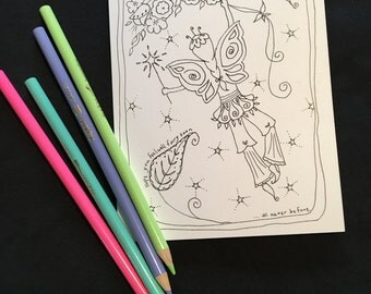 """Feel well Coloring Greeting Card ~ """"Hope you feel well fairy soon...as never before."""""""