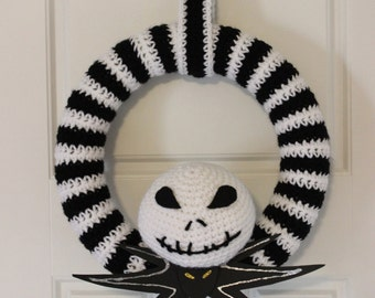 Jack Skellington Nightmare Before Christmas Wreath, Perfect for the holidays