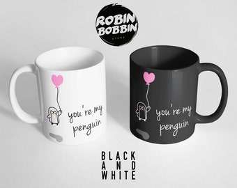You're My Penguin Mug,Boyfriend and Girlfriend Gift, Anniversary Gift, Winter Gift for Husband and Wife, Christmas Gift Mug, Black and White