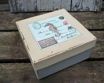Nautical gift box-keepsake box-trinket box-seahorse box-x1