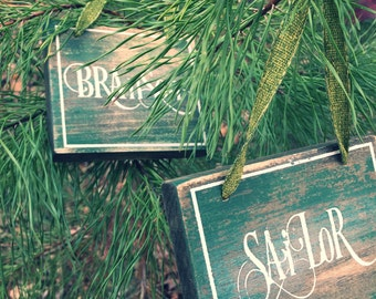 Distressed personalized ornament-Christmas ornament-memory ornaments-hand painted ornaments-rustic ornaments