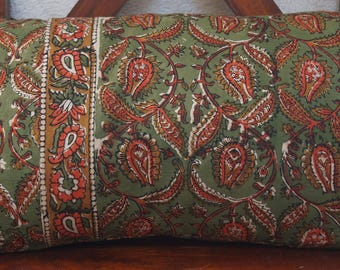 Golconda Green 2 series: cover 30x50cm (12 x 20 inches) cushion, cotton Indian kalamkari, floral, green, orange and ochre.