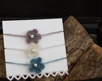 Crochet Flower Newborn Tie-Back Photo Props x 3