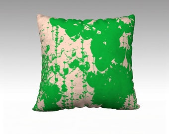 Green Foliage and Pink 22x22 pillow cover, Pink and Green Throw Pillow, Pillow Cover, Sofa Pillows, Decorative Pillow, Couch Pillow, Pillows