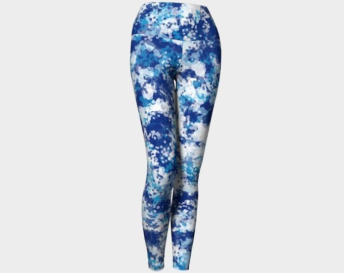 Blueberry Leggings, Printed Leggings,  Blue and White Leggings, Yoga Pants, Wearable Art, Women's Leggings, Leggings