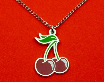 Cherry Necklace | Silver Chain | Hard Enamel | Jewellery | Matching Cherry Pin Available! | Cherries Accessory Gift to Wear |