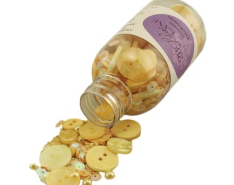 28 Lilac Lane Decorative Embellishments - Hello Sunshine Embellishment Jar - Buttons, Pearl Accents, Seed Beads & Sequins