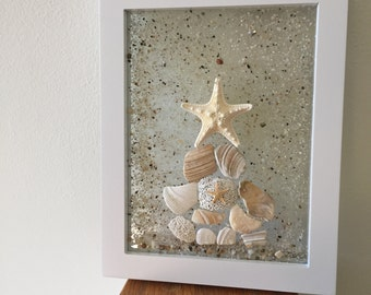 Seashell Beach Decor, Coastal Wall Art, Decorative Frame, Beach House Decor, Coastal Decor, Home Decor, Shell Wall Hanging