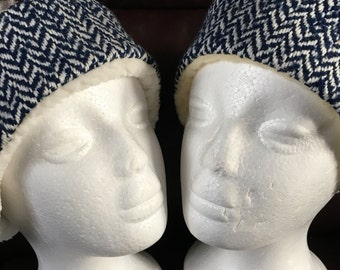 Blue herringbone headband
