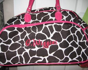 """PINK Giraffe ROLLING duffle bag 21"""" FREE personalization"""