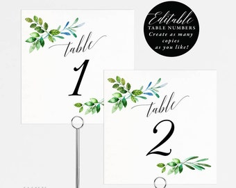 Rustic Wedding Table Numbers Printable, Table Number Template, Folded Tent Card, Flat Card,  Editable Table Number Card PDF Template #E018