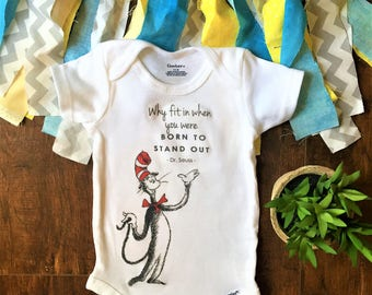 Cat in the hat baby, cat in the hat baby shower, dr seuss baby shower, dr seuss party supplies, why fit in when you were born to stand out