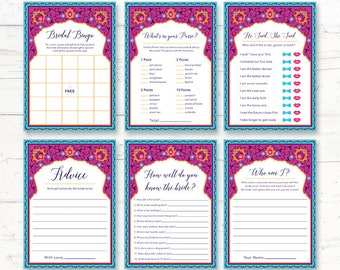 Moroccan Bridal Shower Printable Games Package - Indian, Arabian Nights, Arabic - Instant Download