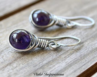 Amethyst Earrings / Sterling Silver Earrings / Wire Wrapped Earrings / Wire Wrapped Jewelry / Amethyst / Petite Earrings
