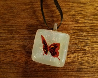 Dichroic Glass Mini Pendant - When a Butterfly Flaps Her Wings