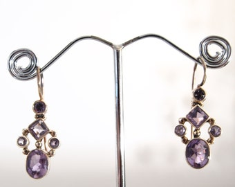925 silver earrings and amethyste stone