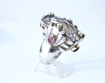 Big ring in silver, gold and multipierres
