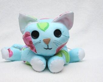 Handmade Plush Cat - Blue Design