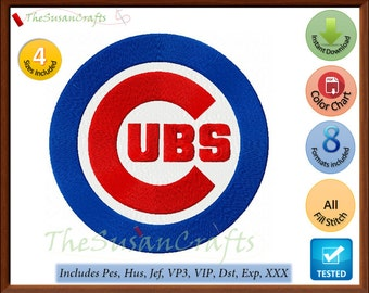 Chicago CUBS 1st EMBROIDERY DESIGNS Pes, Hus, Jef, Dst, Exp, Vp3, Xxx, Vip