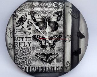 Black White Butterflies Clock, Decoupage Clock, Wedding Wishes Clock, Decoupage furniture, Home Decor, Elegant gift, ShabbyChic Clock