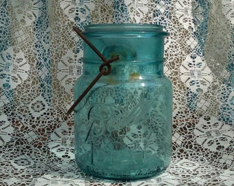 Antique Mason Jar, Blue Ball Mason Jar 1900s