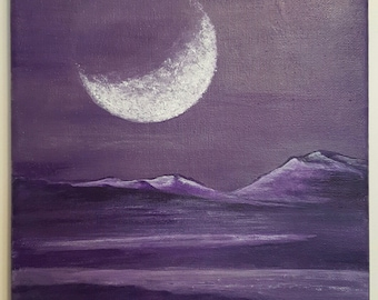 Purple Planet - Acrylic on Stretched Canvas