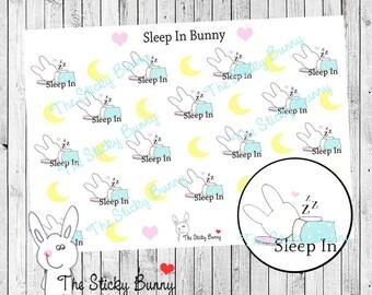 Sleep In Bunny - Planner Stickers for Happy Planner, Erin Condren, Filofax, Kikkik (S013)
