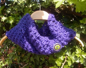 Crochet Infinity Scraf Cowl with Lampwork Button