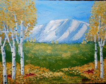 """Rocky Mountain Aspens Oil Paintint 9"""" x 12""""  2/2"""