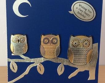 Handmade Birthday Card, handmade greetings card, owl card, Unisex birthday card